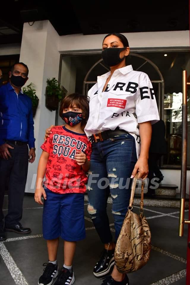 Gauri Khan with son AbRam Khan spotted at Tori restaurant, Bandra