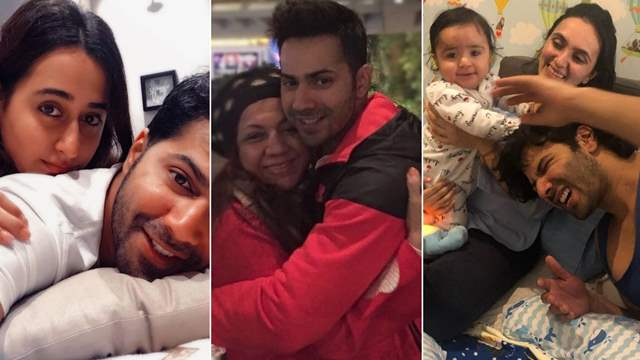 Varun Dhawan wife Natasha Dalal, mother Karuna Dhawan and sister in law Jhanvi Dhawan