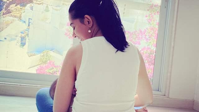 Amrita Rao feeds baby Veer