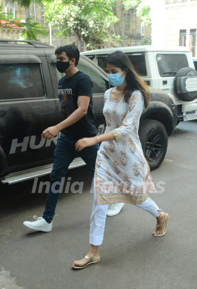 Rhea Chakraborty and brother Showik snapped at NCB office