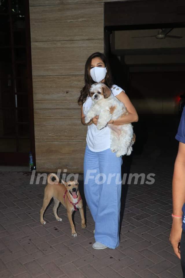 Sophie Choudhary snapped with her pets in Bandra