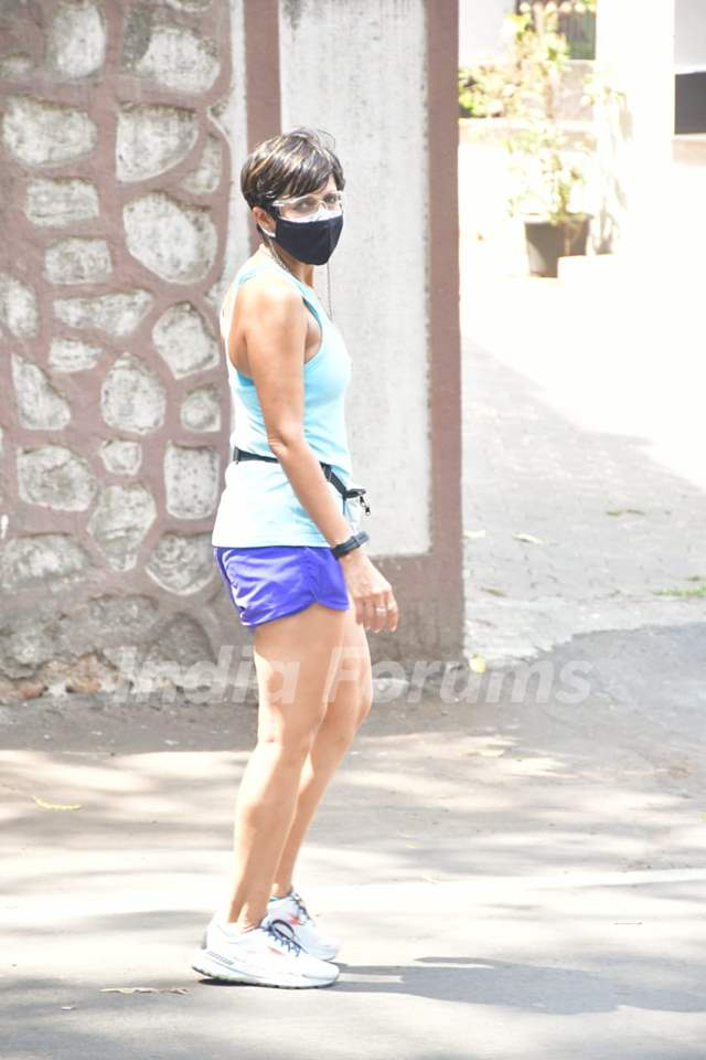 Mandira Bedi spotted during her morning walk in Bandra!