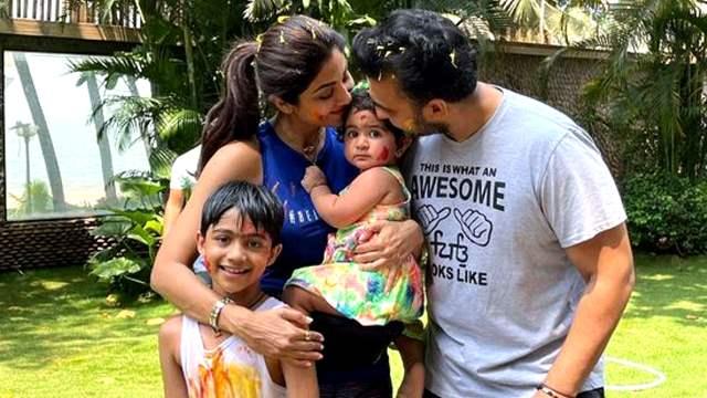 Shilpa Shetty's kids Samisha-Viaan, husband Raj Kundra