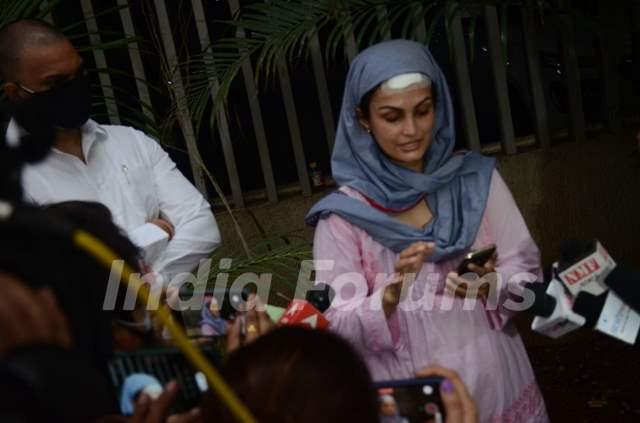 Nisha Rawal snapped addressing a press conference