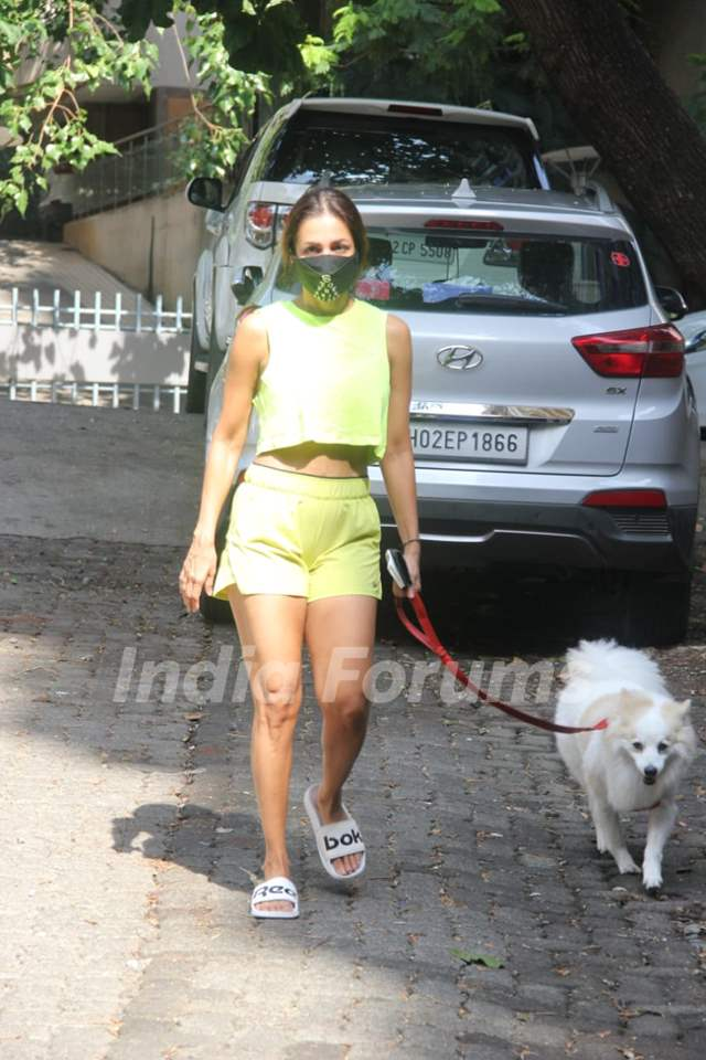Malaika Arora steps out for a walk with her pet