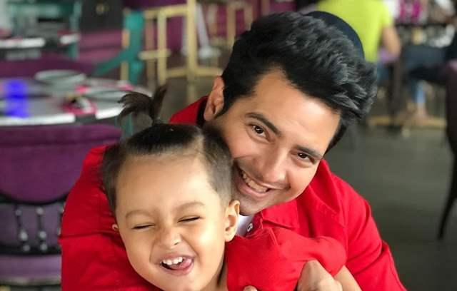 Karan Mehra and son Kavish.