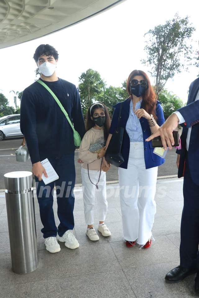 Twinkle Khanna and Aarav snapped at airport