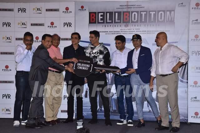 Bell Bottom team at trailer launch in Delhi