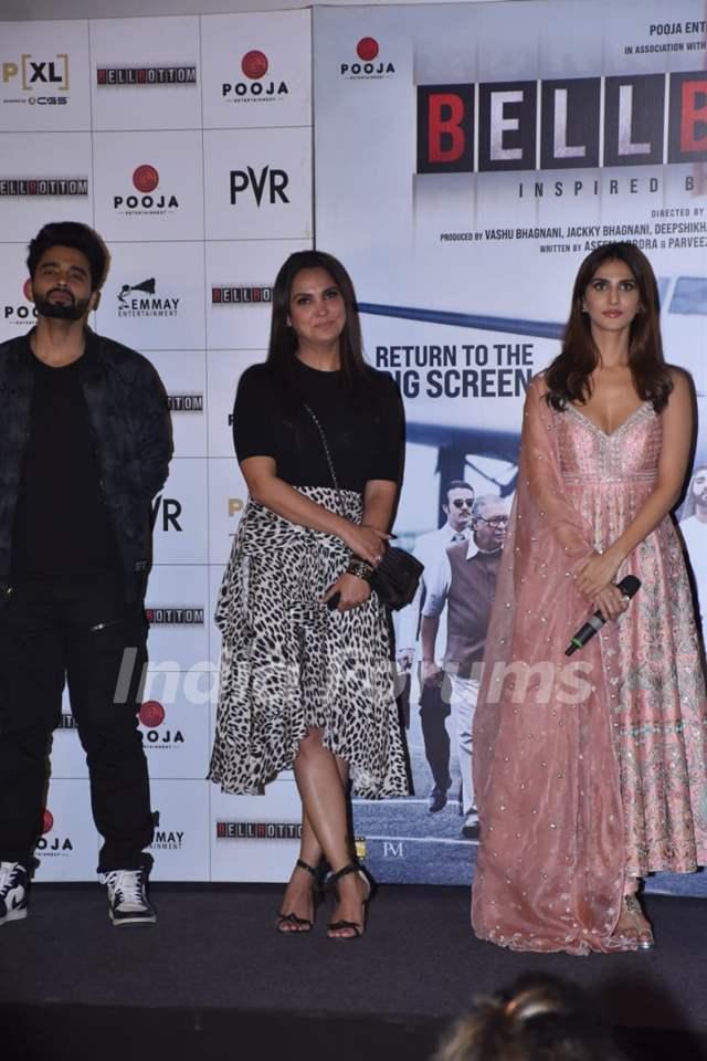 Lara Dutta and Vaani Kapoor at Bell Bottom trailer launch in Delhi