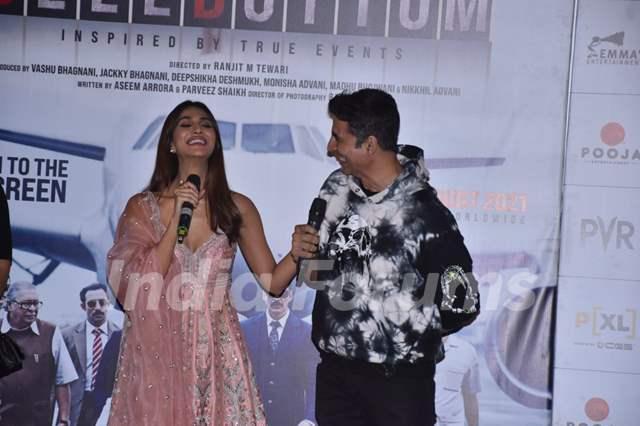 Akshay Kumar, and Vaani Kapoor at Bell Bottom trailer launch in Delhi