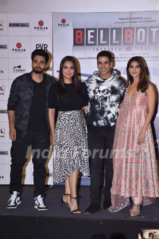 Jackky Bhagnani, Lara Dutta, Akshay Kumar, and Vaani Kapoor at Bell Bottom trailer launch in Delhi