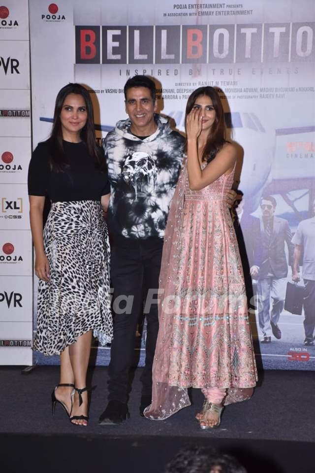 Lara Dutta, Akshay Kumar, and Vaani Kapoor at Bell Bottom trailer launch in Delhi