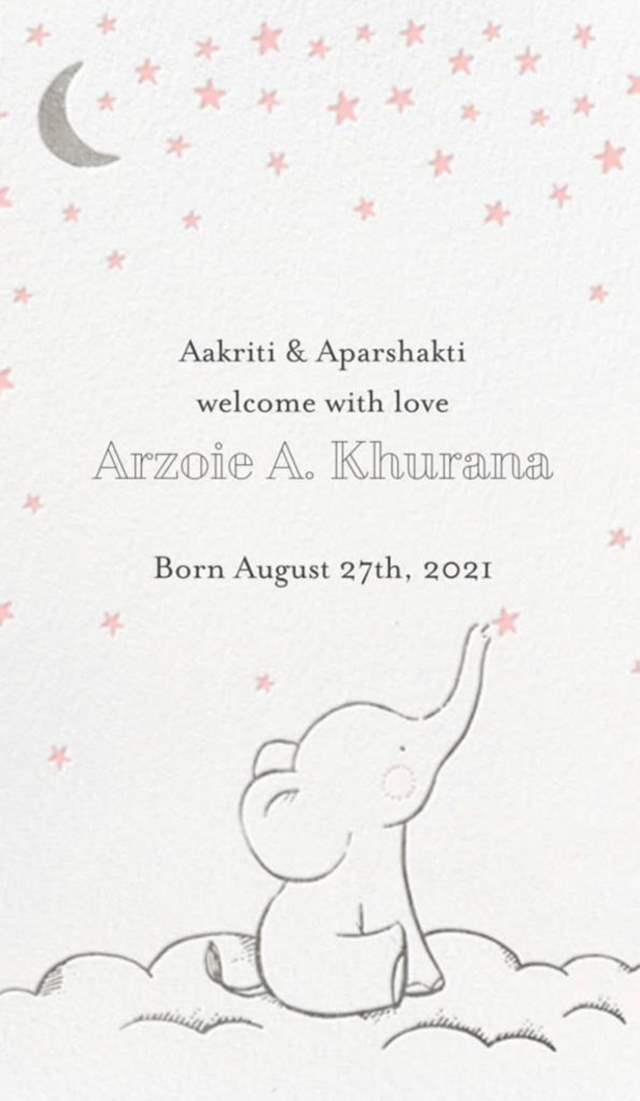 Aparshakti Khurana Baby Announcement
