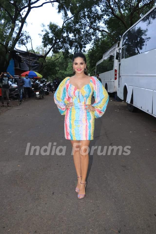Karan Johar rocks a multi-coloured dress at the sets of Big Boss OTT