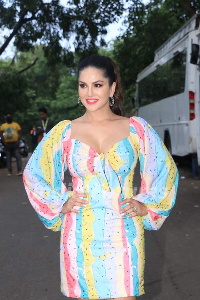 Sunny Leone poses at the sets of Big Boss OTT