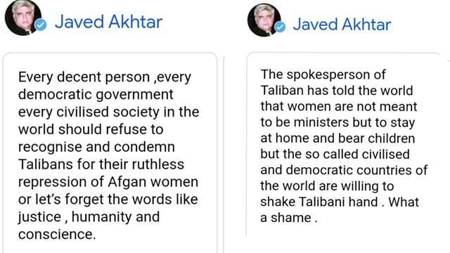 Javed Akhtar's tweet