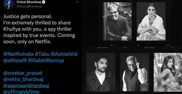 Vishal Bhardwaj tweeted and announced about Khufiya