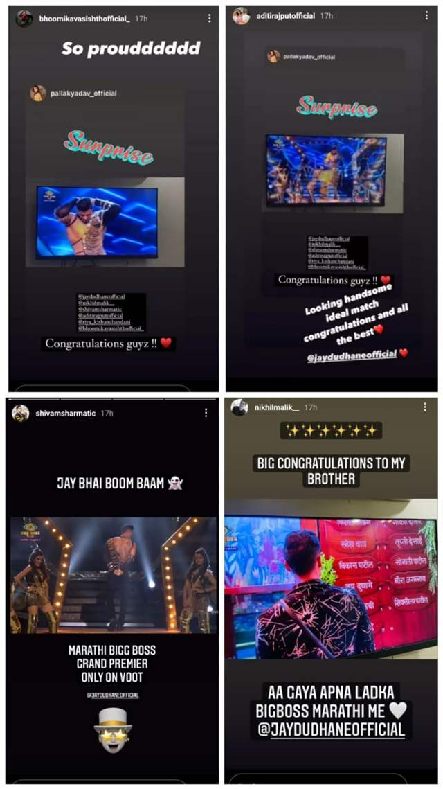 Instagram stories of Shivam, Pallak, Nikhil and Aditi